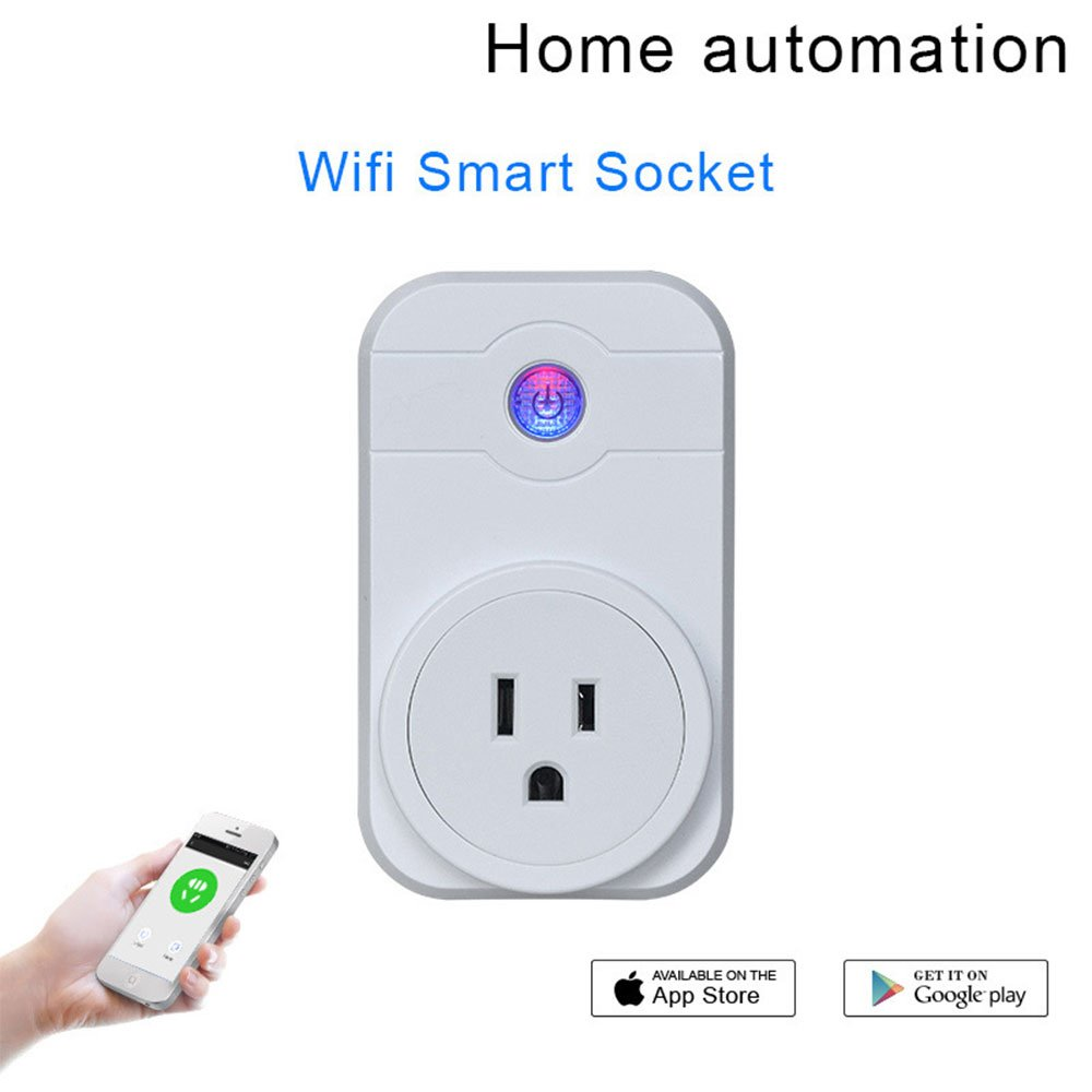 WiFi Smart Plug,Mini Smart Outlet Compatible with Amazon Alexa & Google Home, Remote Control by Smart Phone with Timing Function from,White,2Pc