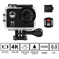 Ultra HD 4K Action Camera, KKCITE WIFI Sports camera Waterproof 20MP Wide Angle Sports Video Camera 2 inch LCD Screen/ 2.4G Remote Control/ 1080P60/ 720P120fps Video
