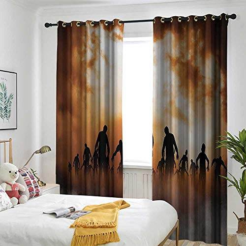 AndyTours Halloween Decorations Thermal Insulated Blackout Curtains Zombies Dead Men Body Walking in The Doom Mist at Dark Night Sky Haunted Decor Simple Stylish 96