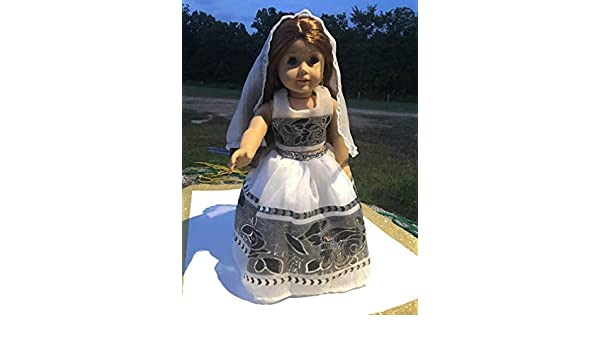 Handmade Sparkly Princess Indian Dress Saree Sari Cropped Top Skirt Fits 18 American Girl Doll Clothes Gown