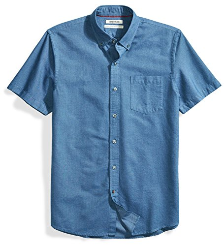 Goodthreads Men's Standard-Fit Short-Sleeve Solid Oxford Shirt with Pocket, Indigo, Large by Goodthreads