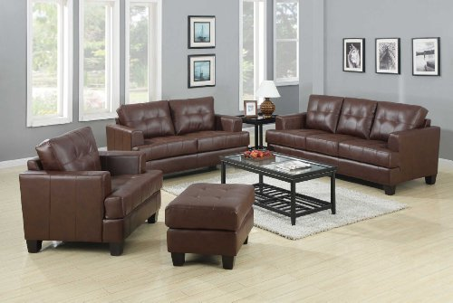 Coaster Home Furnishings Contemporary Loveseat, Dark Brown