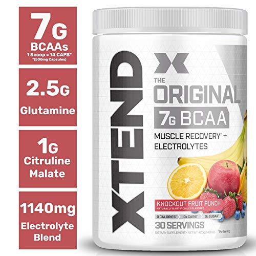 Scivation Xtend BCAA Powder, 7g BCAAs, Branched Chain Amino Acids, Keto Friendly, Knockout Fruit Punch, 30 Servings ()