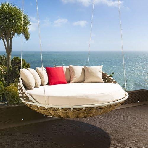 Cama colgante, diseño redondo, cojines de color crema: Amazon.es: Jardín