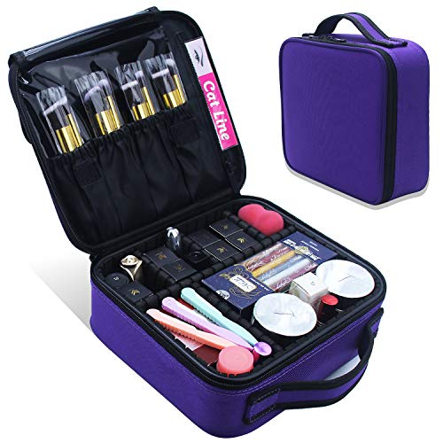 Makeup Case Cosmetic Bag Travel Makeup Train Case Portable Artist Storage Bag 10.3 with Adjustable Dividers for Cosmetics Makeup Brushes Toiletry Jewelry Digital Accessories (Purple)