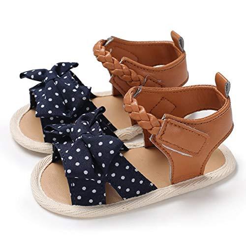 Sakuracan Infant Baby Girls Canvas Flower Summer Shoes Soft Sole Flat Princess Sandals (13cm(14-22 Months), A-Navy)