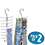 mDesign Closet Rod Hanging Accessory Storage Organizer for Ties, Belts, Accessories – 17 Hooks, Pack of 2, Chrome