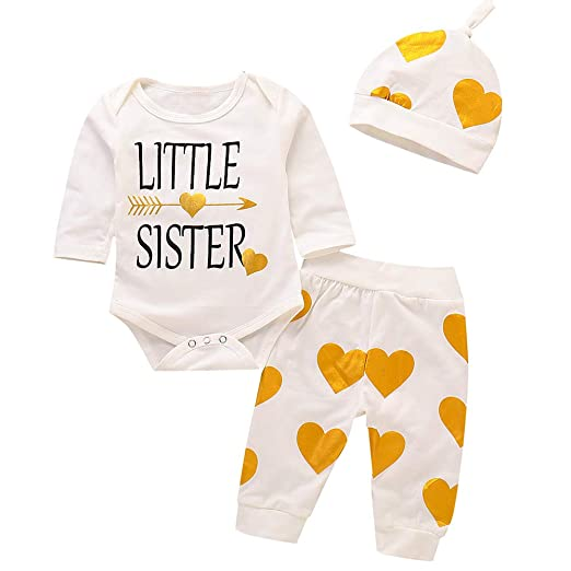 6c90f10d072 Baby Girl Outfits Little Sister Romper Long Sleeve Bodysuit Cute Printing  Pants with Hat Clothes 3PC