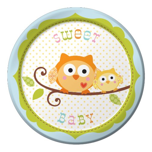 8-Count Round Paper Dessert Plates, Happi Tree Sweet Baby Boy ()