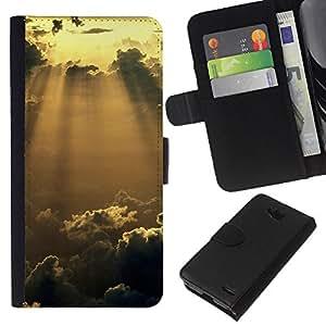 LECELL--Cuero de la tarjeta la carpeta del tirón Smartphone Slots Protección Holder For LG OPTIMUS L90 -- Sunshine Nubes Glow --