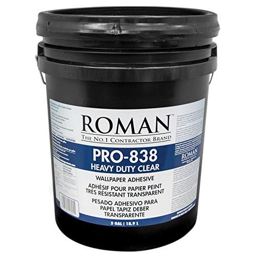 (Roman 011305 PRO-838 Heavy Duty Wallpaper Adhesive, 5 gal, Clear)