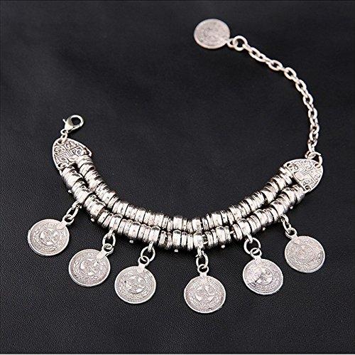 Pulsera de monedas redondas talladas con flores Heelinna color plateado
