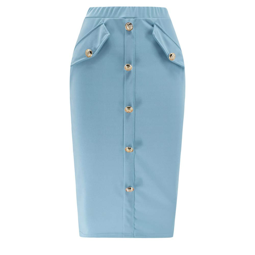 kingfansion Skirts with Pockets Women High Waisted Pencil Skirt Bodycon Button Skirts for Women Knee Length Blue by kingfansion dress (Image #2)