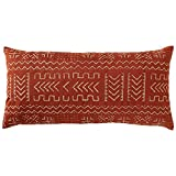 "Rivet Mudcloth-Inspired Pillow, 12"" x 24"", Spice"