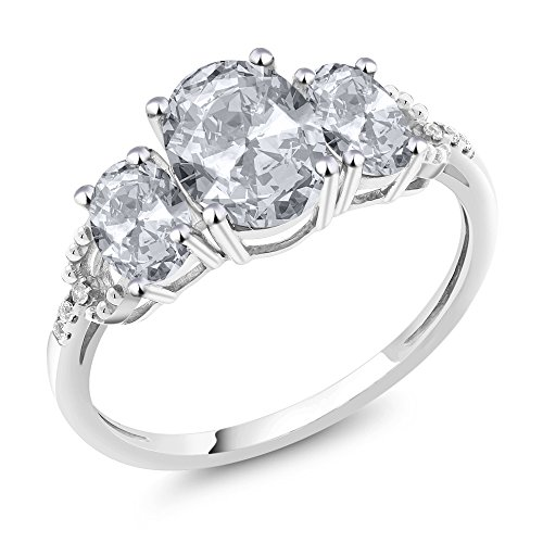 White Gold Three Prong (10K White Gold Diamond Accent Three-Stone Engagement Ring set with 2.35 Ct Oval White Topaz (Ring Size 8))