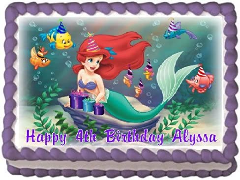 Tremendous Amazon Com The Little Mermaid 3 Edible Frosting Sheet Cake Personalised Birthday Cards Veneteletsinfo