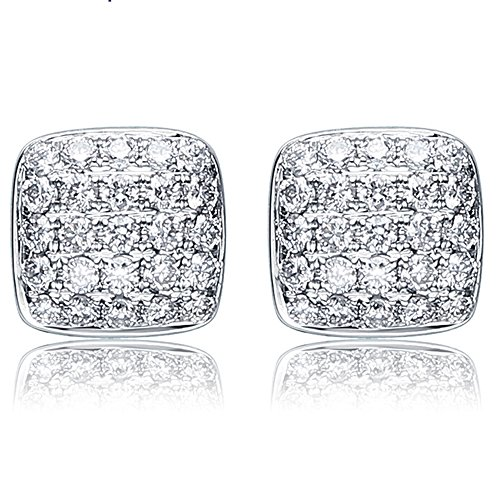 Brilliant Fashion Genuine Diamond Anniversary Party Wedding 14K White Gold Women Stud Earring Set by Kardy