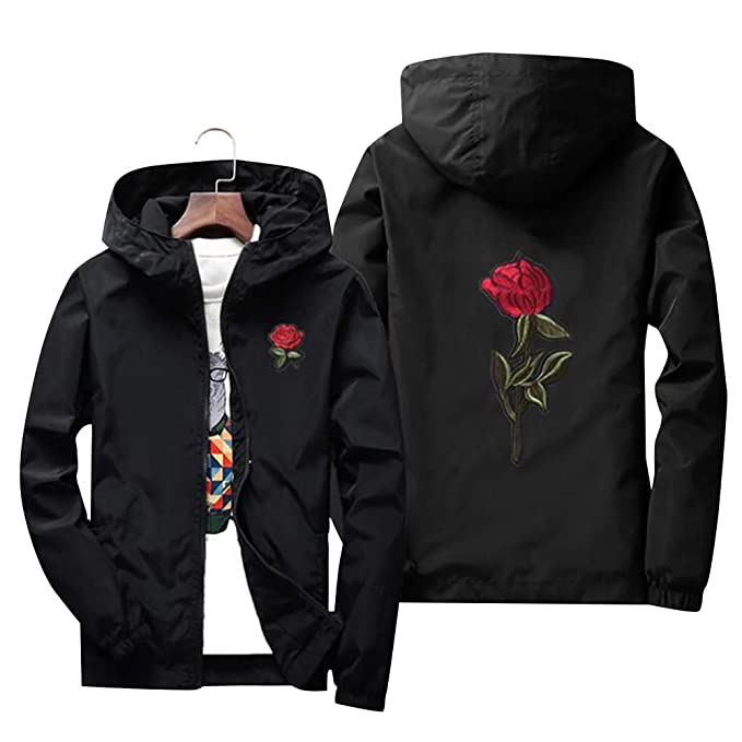 Amazon.com: LONGBIDA Rose Jacket Windbreaker - Chaqueta para ...