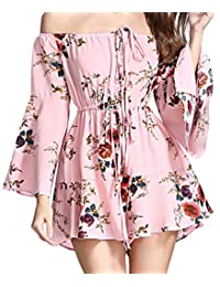 SUPEYA Women Summer Floral Ruffle Dress Off Shoulder Casual Dresses Rompers Jumpsuit