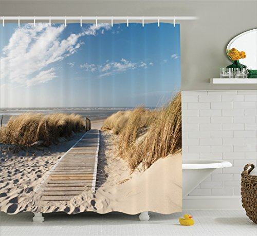 Ambesonne Seaside Decor Collection, Footpath Sunny Day Windy Weather European Beach Grass Germany Landscape Image Print, Polyester Fabric Bathroom Shower Curtain, 84 Inches Extra Long, Blue Ivory (Beach Themed Bridal Shower)