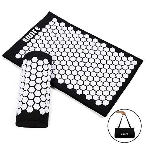 ENJIFE Acupressure Mat Pillow Lotus Massage Cushion Set Full Body Nails Sleep Mats for Back, Legs, Neck, Sciatica, Trigger Point Therapy, Pain and Stress Relief (ACU Black Set-White Lotus)