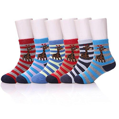 LINEMIN 6 Pairs Children's Winter Warm Cotton Socks For Kids Boys Girls (6 Pack Giraffe, 3-5 Years ()