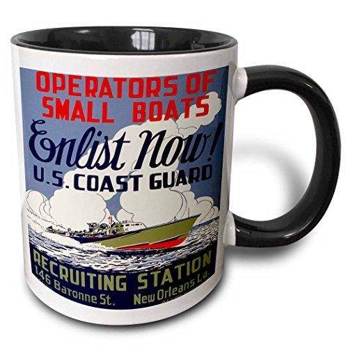 Mug Guard Coast (3dRose mug_171435_4 Us Coast Guard Operators of Small Boats Enlist Now Recruiting Poster Ceramic, 11 oz, Black/White)