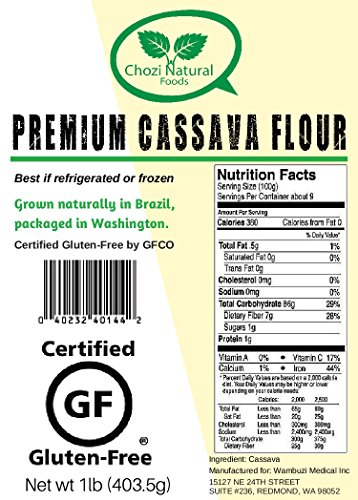 Amazon.com : Cassava Flour (Manioc or Yuca Flour) by Chozi., Certified Gluten-Free- nonGMO, All Natural, no additives (2lb) : Grocery & Gourmet Food