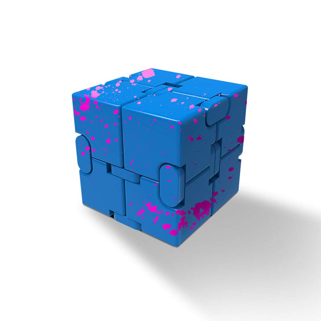 GUOJINJIN Infinite Cube, Metal Cube Handheld Accessories Toy Desktop Decompression Toy Game Eliminates Stress and Anxiety for Children and Adults,Blue