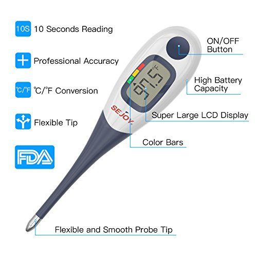 Digital Medical Thermometer, SEJOY 10-Second Fast Reading Temperature Thermometer with Flexible Tip, Large Digital Display, Waterproof & Fever Indicator for Infants, Children, Adults, Elderly & Pets by Sejoy (Image #1)