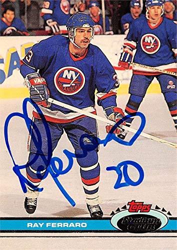 - Ray Ferraro autographed Hockey Card (New York Islanders, SC) 1991 Topps Stadium Club #3 - Hockey Slabbed Autographed Cards