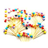 """ReaLegend 3.6"""" Cocktail Sticks Party Frilled Toothpicks, Sandwich, Appetizer, Cocktail Picks Party Supplies Plates Picks 100 Count - Sweet Heart"""