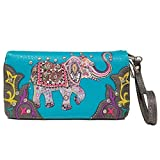 Elephant Floral Spring Rhinestone Studded Western Style Country Purse Wrist Strap Women Wristlets Wallet (Turquoise)