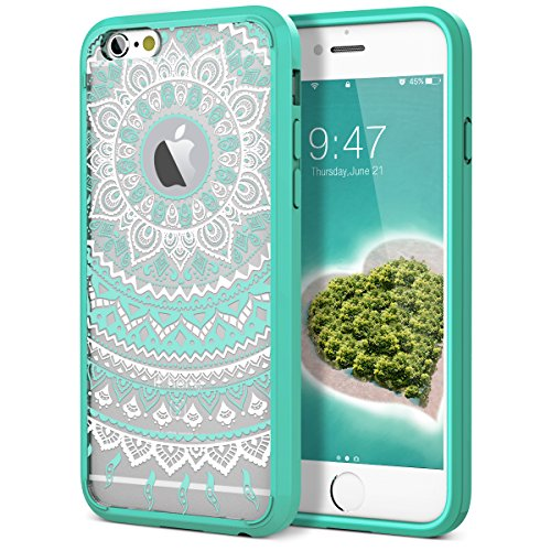(iPhone 6 Case, iPhone 6S Case, SmartLegend Clear Hybrid Case with Henna Mandala Floral Design Transparent Hard Plastic Back + Soft TPU Bumper Cover for iPhone 6/6S 4.7