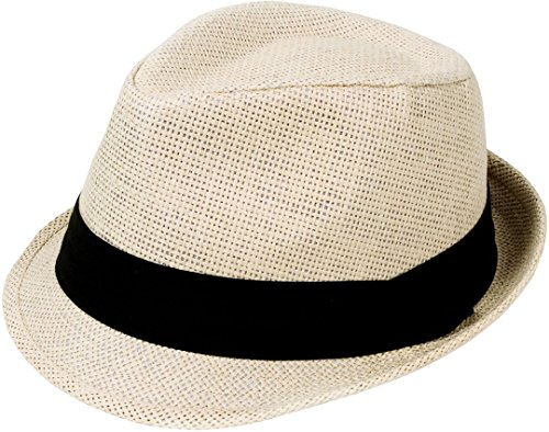 TAUT Unisex Solid Color Short Brim Sun Fedora Hat with Band Natural SM