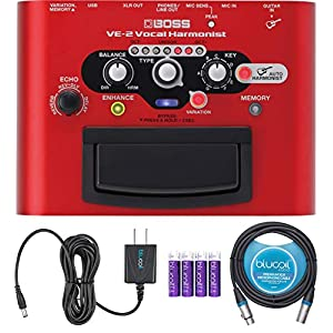 BOSS VE-2 Vocal Harmonist Pedal for Guitars Bundle with Blucoil Slim 9V Power Supply AC Adapter, 10-FT Balanced XLR…