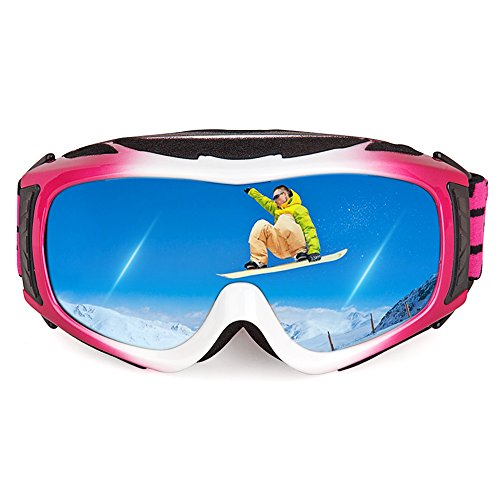 Ewin G05 Kids Ski Goggles, Snowboard Goggles with REVO Anti-Fog Lens 100% UV400 Protection OTG Snow Goggles for Child Boys Girls Junior & Youth (Pink)
