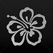 Decal Stickers Hibiscus Vehicle Tablet Hobby Waterproof Raci Silver-Matte (8 X 7.71 Inches)