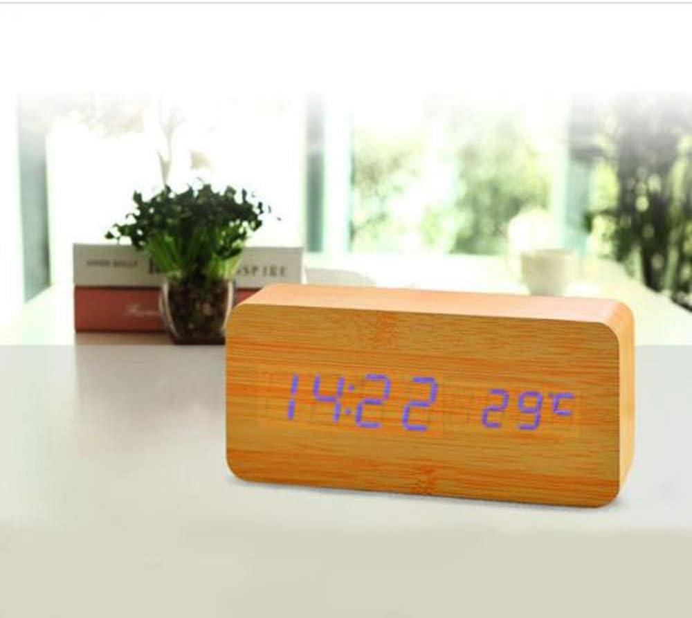 Alarmclocker8B Thermom/ètre /à Calendrier num/érique r/éveil LED /à Commande vocale en Bois avec c/âble USB Lustro Budzik-Orange/_United States