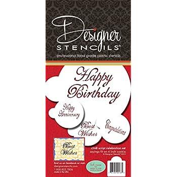 Designer Stencils C568 Script Celebration Cake Stencils Set, Beige/Semi-Transparent