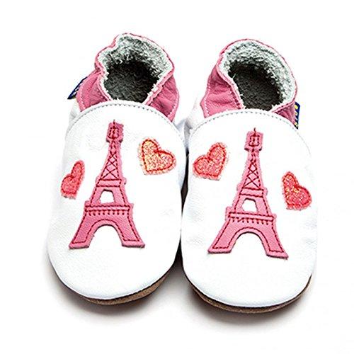 Inch Blue niñas niños funda de piel suave suela zapatos de para cochecito de bebé-de la torre Eiffel color blanco