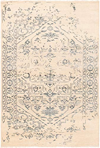 eCarpet Gallery Hand-Knotted   Area Rug for Living Room, Bedroom   La Seda Casual Ivory Rug 5'3