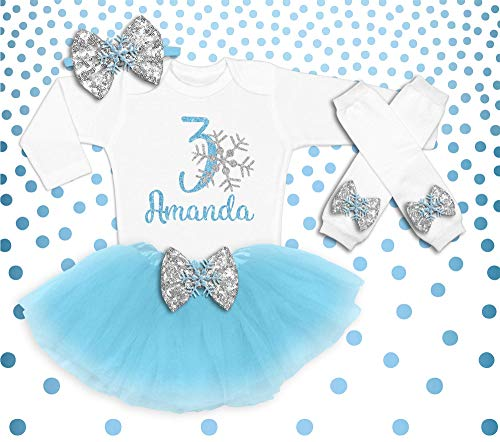 Baby Girl 3rd Birthday Outfit, Winter Birthday Shirt, Snow Flake 3rd Birthday Outfit, Winter Birthday Party Outfit, Birthday Tutu -