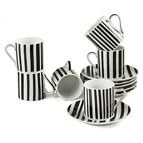 Alpine cuisine 12 piece retro striped porcelain demitasse for Alpine cuisine fine porcelain