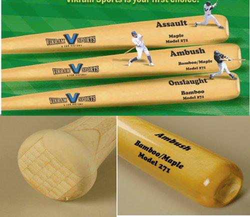 h Bamboo / Maple Hybrid Adult Baseball Bat (Model 271) 34 Inch 31 Oz (-3) by Vikram Sports at Factory Direct Price (Bamboo Hybrid Baseball Bat)