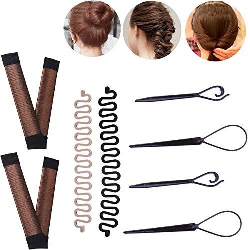 Magic Hair Bun Shaper Set, 2 Pcs Magic Hair Clip Twist Hair Braiding Set, 2 Pairs Topsy Tail Loop Hair Kit Ponytail Maker, 2 Pcs Donut Hair Bun Tool