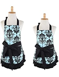 Lovely Flower Pattern 100 Cotton Garden Aprons Parent Child Cooking Kitchen Or Barbecue Apron Chef Bib With One Convenient Pocket In Front For Great Gife Parent Child