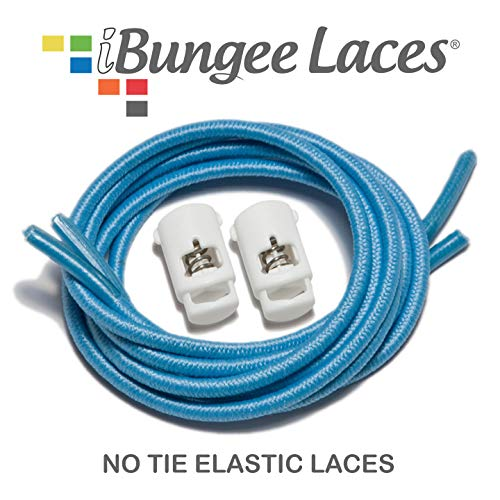 iBungee Stretch Laces (42-Inch, Light Blue Laces with Off-White Race Lock)