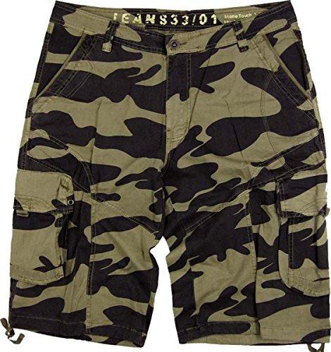 Men's Military-Style Camouflage Cargo Pocket Shorts Khaki Color #27sC1-G Plus Size:52