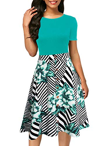 - Berydress Women's Short Sleeve Colorblock Button Down Sundress Knee-Length Flared A-Line Casual Party Swing Dress (M, 6091-TUR+Stripe)